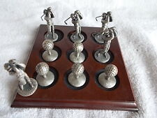 Golf Pewter and Wood Tic Tac Toe Set 5 2 inch Golfers and 5 1 Inch Golf Balls