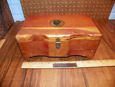 Vintage Cedar Wood Trinket Box w Brass Hardware - Silhouette Design