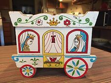 Antique Music Box Princess Jewelry Wood Draw Girls Keepsake Royal Carriage