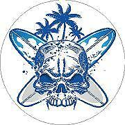 Surf and Skull 1 Vinyl Sticker Decal Cars Trucks Vans Walls Laptop