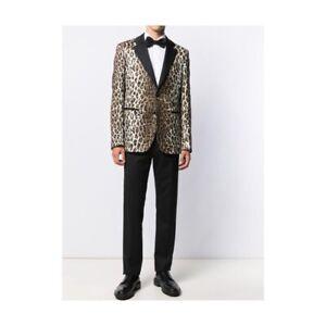 Versace Jacquard Blazer in Leopard Print  50 IT 40 US $2995 NWT