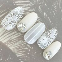 24pcs(Pre-glue) Elegant Wedding Party Show Beautiful 3D False Nails Pre-design