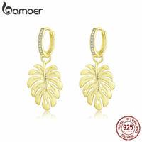 BAMOER Women Earrings S925 Sterling silver MonsteraLeaf With AAA CZ Jewelry