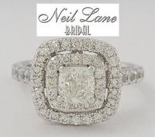 Neil Lane 1.20 ct 14K White Gold Cushion Cut Diamond Double Halo Engagement Ring
