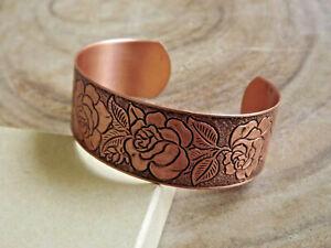 Pure Copper Rose Design Adjustable Cuff Bracelet Arthritis Relief Bracelet