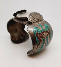 Heavy Old Pawn Navajo Silver, Coral, Turquoise Cuff, Watch, Charlie John, 93.6gr
