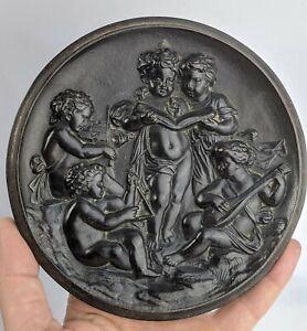 Antique Vulcanite / Gutta Percha Plaque three Musical cherubs - Victorian FINE