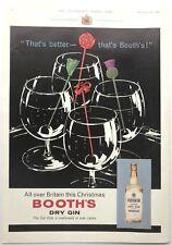 BOOTH'S DRY GIN - Vintage Advert (12 November 1960) London, British, Christmas *