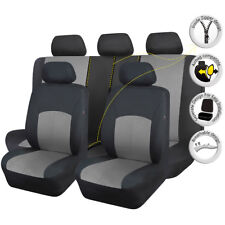 11 PCS Full Set Universal Seat Covers Polyester Black Gray for Car Truck Van SUV
