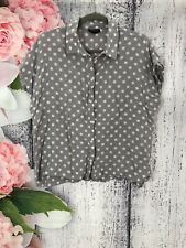 Size 14 Topshop Grey Spotted Capped Sleeve Blouse