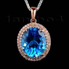 6.70ct Oval 10x12mm 14Kt Rose Gold Natural Diamond Dark Topaz Wedding Pendant