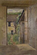Porte ouverte sur un jardin Peinture à l'huile/carton ns vers 1920/30