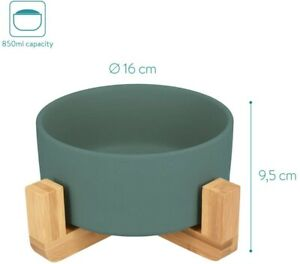 Green Ceramic Raised Pet Food Bowl with wood stand cat dog