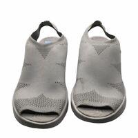 Bzees Womens Secret Slingback Sandals Gray Peep Toe Wedge Heels 11 M