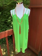 "New Anthropologie ""CeCe"" Size 8 Electric Lime /Green Sleeveless Summer Dress"