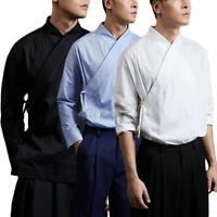 Hommes Japonais Kimono t-shirt à Manches Longues Ample t-shirt Chemises Hauts