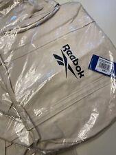 Reebok NAT CTTN Canvas Zippered Duffel Training Gym Bag In Canvas White
