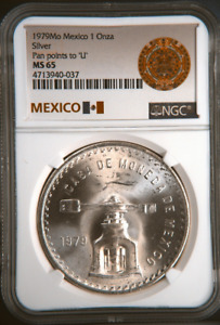 :1979Mo 1 ONCE MEXICO MEDALLIC-SILVER TYPE-III KM#M49b.3 NGC MS-65 HIGH-GRADES