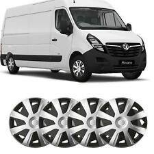 """16"""" Vauxhall Movano fit Wheel Trims Van Hubcaps Set of 4 Black & Silver Quality"""
