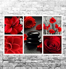STUNNING RED FLORAL CANVAS COLLAGE #6 QUALITY FLOWERS WALL ART BOX CANVAS A1