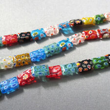 "Millefiori Glass Beads Assorted Rectangle 12mm 15"""
