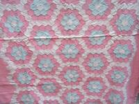 "Antique Vintage Handmade Quilt Honeycomb Pink & Blue Crib 55""x45"" w/ Runner"