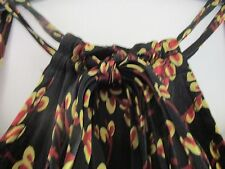 "Pure Silk black hype dress ""Dark Floral"" neck ties size 4/6,""Tiny."""