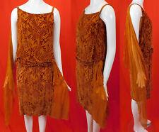 Vintage 20s Art Deco Burnt Orange Voided Velvet Devore Silk Scarf Flapper Dress
