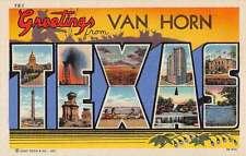 Van Horn Texas Large Letter Linen Antique Postcard K53482