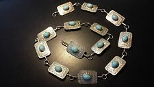 Belt with Mounted Turquoise Stones Vintage Mexican Sterling Silver Concho