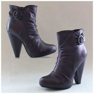 Stiefeletten Gr. 38 Plateaustiefel anthrazit grau High Heels (#2159)