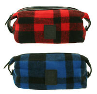 Ralph Lauren Polo Buffalo Plaid Wool Shaving Dopp Kit Toiletry Bag New $145