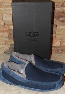 NIB UGG Men's ASCOT Suede UGGPure Lined Slip On Moccasin Slippers BLUE 8