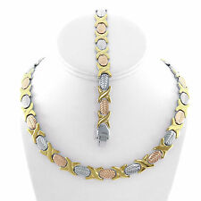 NEW Hugs and Kisses Necklace Bracelet Set Stampato Stainless Steel 3 Tone 18""