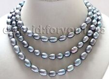 "Black Rice Pearl Necklace #f3008! 50"" Longest Genuine Natural 12.5mm"