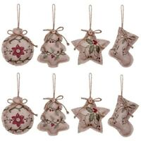 Rustic Christmas Tree Ornaments Stocking Decorations Burlap Country Christm R4V1