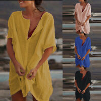 UK Women Round Neck Short Sleeve Mini Dress Ladies Casual Loose T-Shirt Dresses