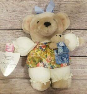 "Vintage Hallmark Plush Chrysantha-Mom Stuffed Teddy Bear Sweet Pea Bow 12"""