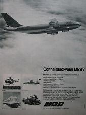 1/1975 PUB MBB AIRBUS A300B BO 105 TORNADO ET 403 INTERCITY ROLAND FRENCH AD