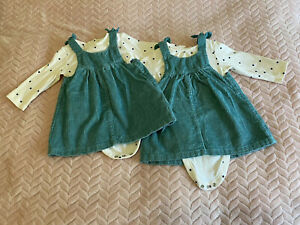 Twin Baby Girls 3-6 Months M & S Dresses Outfits dungarees