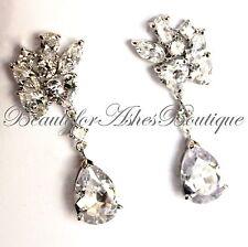 Beauty for Ashes Wedding Evening Glitzy Teardrop Clear Bridal Cz Dressy Earrings