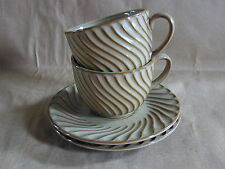 Set of 2 Portmeirion 2005 Cafe Collection Swirl Cappuccino Cups & Saucers NWT