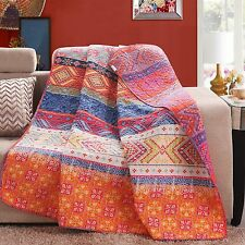 Luxury Reversible 100% Cotton Multicolored Boho Stripe Quilted Throw Blanket ...