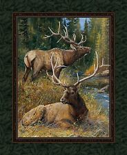 """Springs Creative ~ ELK - Lazy Afternoon ~ 100% Cotton 36"""" Quilt Fabric Panel"""