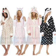 Ladies Dressing Gown Soft Robe Character Animal Face Hooded Cosy Fleece & Warm
