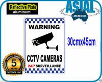 2 x CCTV VIDEO cameras SURVEILLANCE METAL Warning Sign Reflective 30x45cm