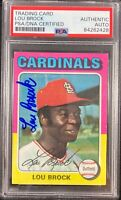 Lou Brock auto card 1975 Topps #540 MLB St. Louis Cardinals PSA Encapsulated
