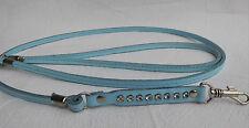 HUNDELEINE mit StrassSteinen, Leder  130cm Blau Neu (für kleine Hunde)