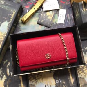 Gucci GG Marmont leather chain wallet Hibiscus red AUTENTHIC 100% NEW WITH BOX