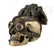 STEAMPUNK Skull Bronze Statue Sculpture with Leather goggles and wire hair - NEW